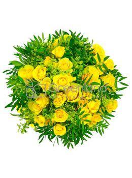 №2 Букет из желтых роз и солидаго