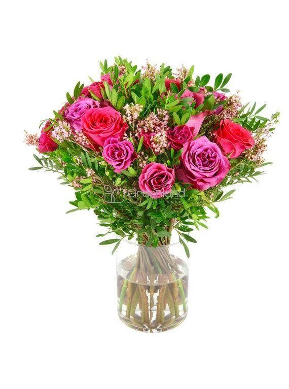 №01 Букет из розовых одиночных и спрей роз