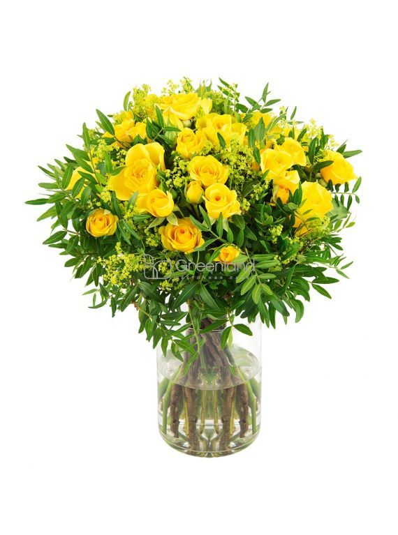 №02 Yellow spray roses with Solidago bouquet