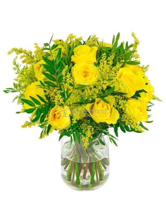 №02 Yellow roses with Solidago bouquet