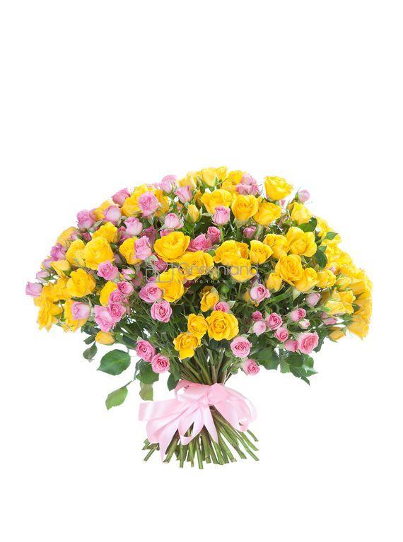 №203 Букет микс из 51 спрей розы (желтая, розовая)