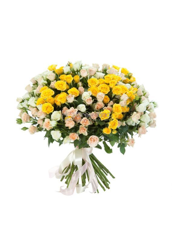 №89 51 white and yellow spray roses flower bouquet