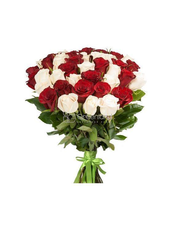 №69 Букет-микс из 25 роз M (красн, бел)