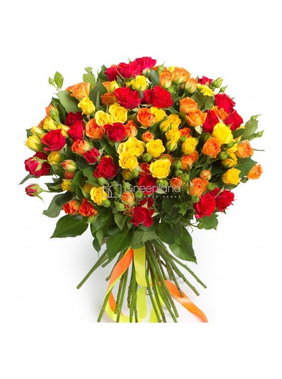 №88 Букет микс из 51 красных и желтых спрей роз