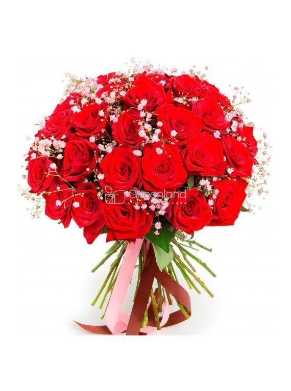№15 Букет из красных роз и гипсофилы