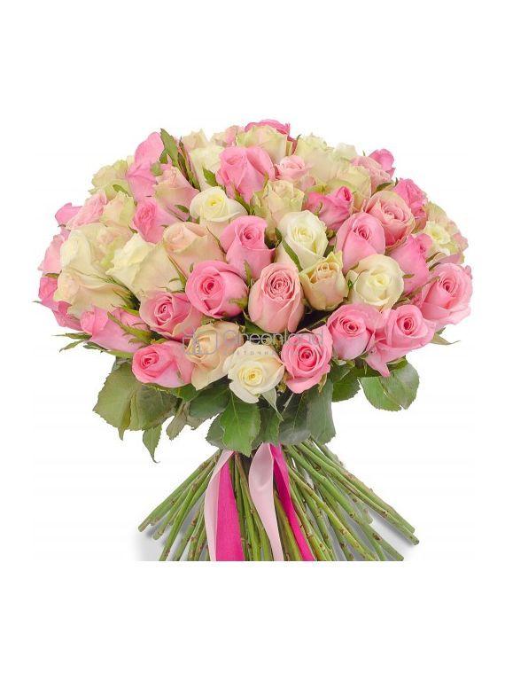 №65 Букет-микс из 101 розы (бел, роз) S