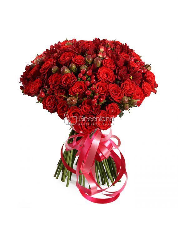 №269 Микс букет из красных роз и хризантем