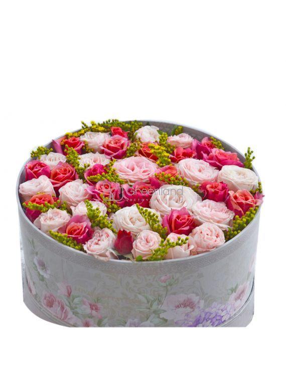 №265 Flower mix in round box