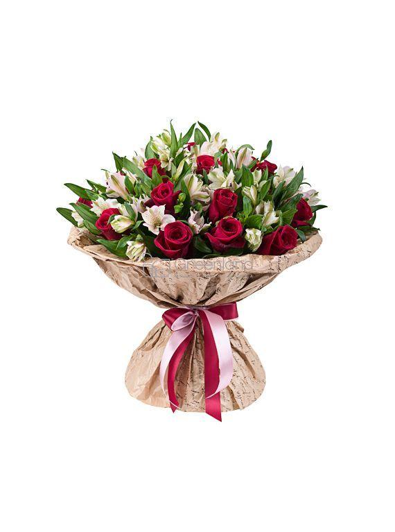 №257 Букет из красных роз и альстромерии