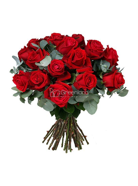 №267 Red roses with equaliptus flower bouquet