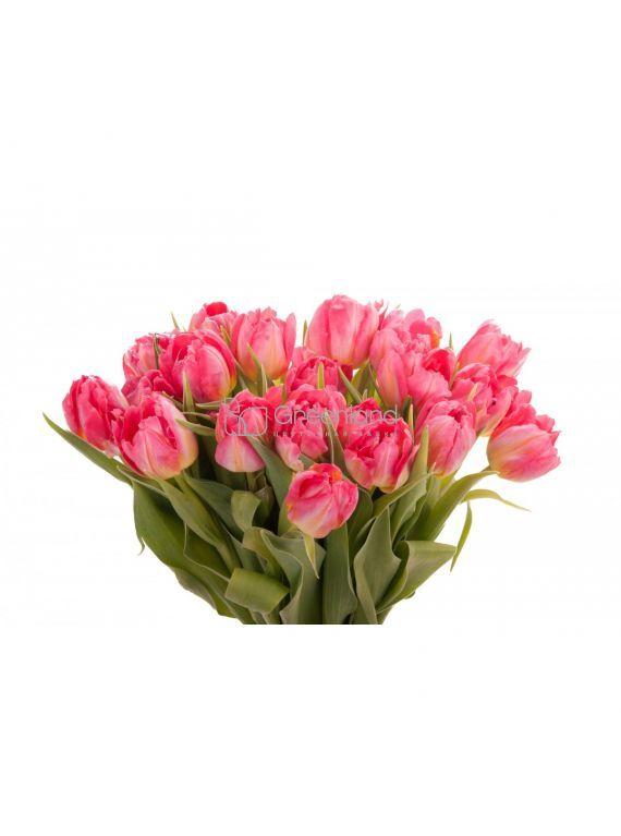 №221 Букет из 15 розовых пионовидных тюльпанов