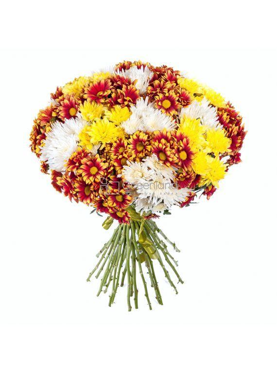 №254 Букет из желтых, оранжевых и белых хризантем