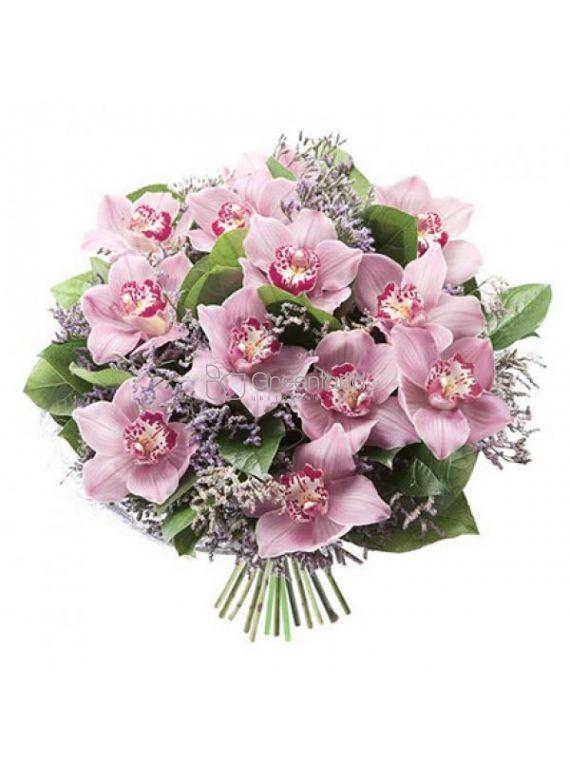№336 Букет из розовых орхидей и статицы