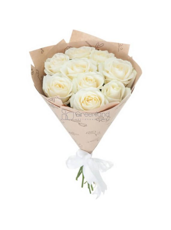 №369 9 white roses flower bouquet (size M)