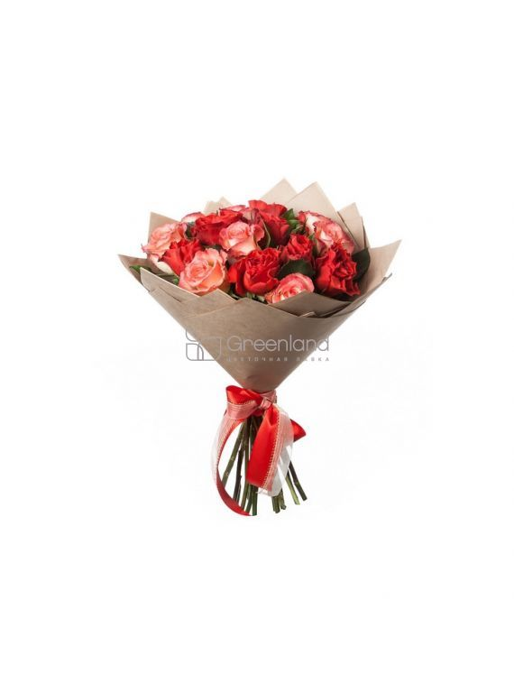 №366 15 red and pink roses (size S)