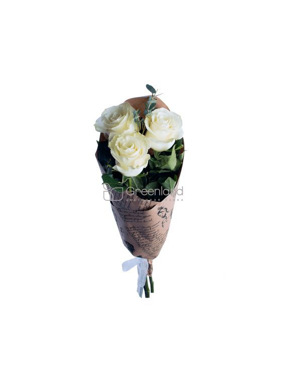 №370 3 white roses flower bouquet (size M)