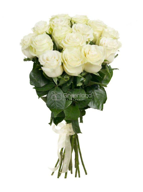 №32 15 white roses flower bouquet (size M)