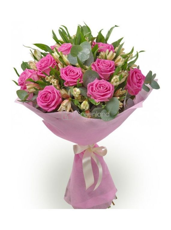 №28 Pink roses and alstroemeria flower bouquet