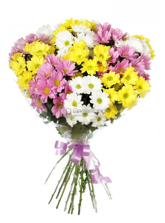 №258 15 pink and yellow color chrysanthemums flower bouquet