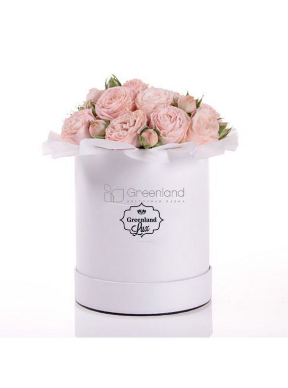 №272 Creamy spray roses flower bouquet in hat box