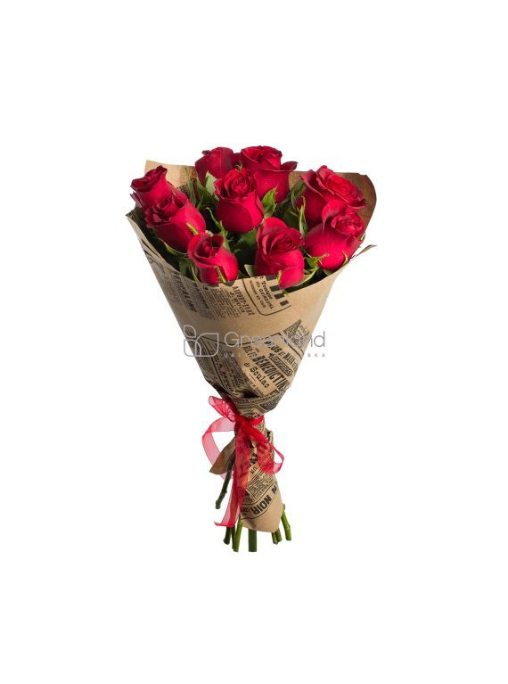 №368 9 red roses flower bouquet