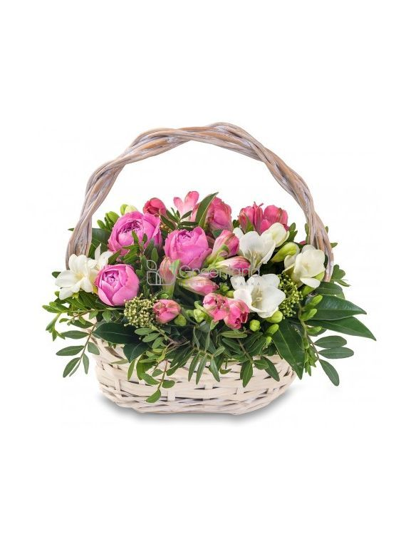 №324  Spray roses, alstroemeria and freesia floral bouquet in a wicker basket